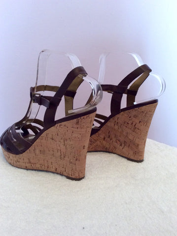 Guess Dark Brown Leather Wedge Heel Sandals Size 6/39 - Whispers Dress Agency - Womens Sandals - 5