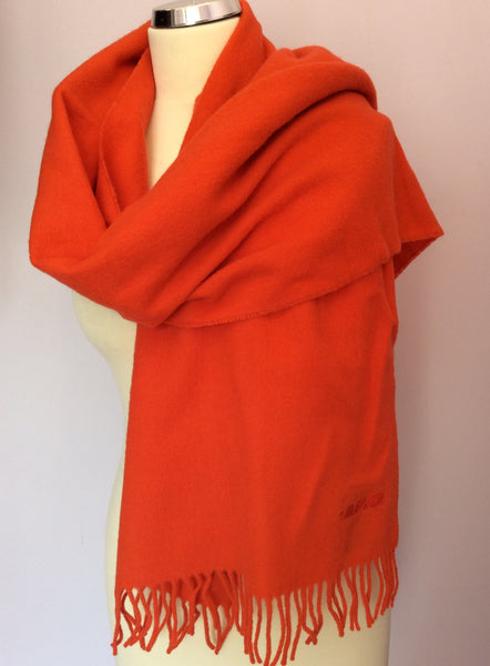 Vintage Jaeger Orange Lambswool Scarf - Whispers Dress Agency - Sold - 1