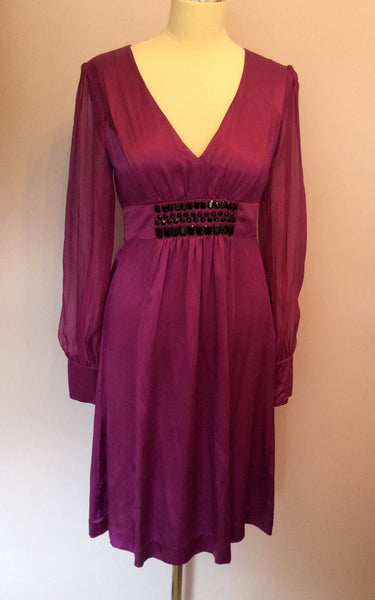 Monsoon Deep Pink Beaded Trim Silk Dress Size 10 - Whispers Dress Agency - Sold - 1