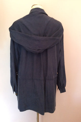 Vintage Jaeger Blue Silk Hooded Jacket Size M - Whispers Dress Agency - Womens Vintage - 2