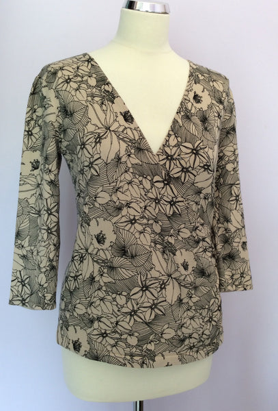 Laura Ashley Beige & Black Floral Print Fine Knit Top Size 12 - Whispers Dress Agency - Sold - 1