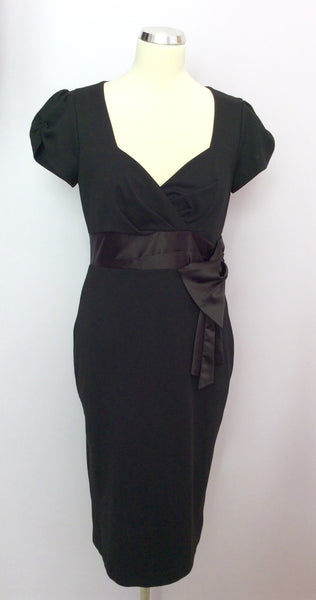 Betty Jackson Black Wiggle Pencil Dress Size 12 - Whispers Dress Agency - Sold - 1