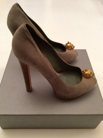 Alexander Mcqueen Olive Green Suede Skull Trim Heels Size 8/41 - Whispers Dress Agency - Womens Heels - 5