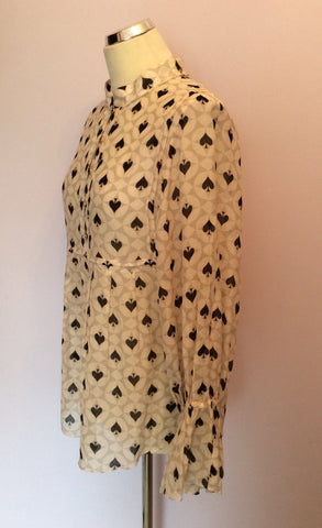Alice Temperley Pale Pink, Grey & Black Spade Print Smock Top Size 10 - Whispers Dress Agency - Womens Tops - 3
