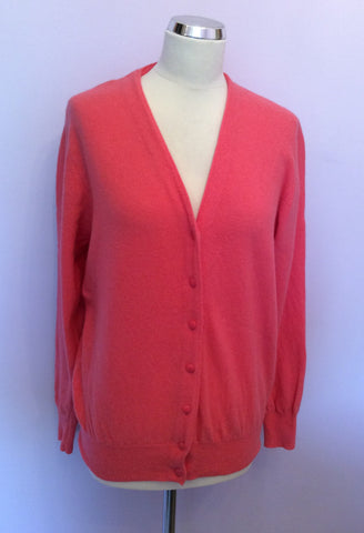 Vintage United Colours Of Benetton Coral Wool & Angora Cardigan Approx M/L - Whispers Dress Agency - Womens Vintage - 1