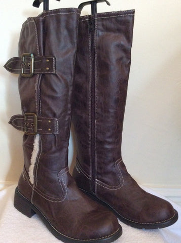 Brand New Cats Eyes Dark Brown Buckle Trim Boots Size 6/39 - Whispers Dress Agency - Womens Boots - 1