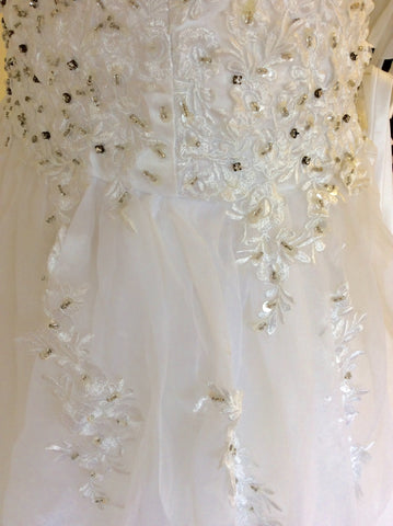 Beautiful White Strapless Jewelled & Embroidered Corset With Full Skirt Wedding Dress Fit Size UK 6-10 - Whispers Dress Agency - Womens Dresses - 5
