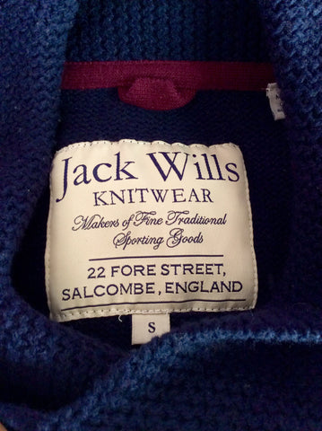 JACK WILLS DARK BLUE COLLARED V NECK LAMBSWOOL JUMPER SIZE S - Whispers Dress Agency - Mens Knitwear - 3