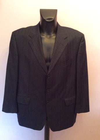 Hugo Boss Navy Blue Pinstripe Wool Jacket Size 48 - Whispers Dress Agency - Mens Suits & Tailoring - 1
