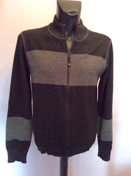 Armani Jeans Black & Grey Stripe Zip Up Cardigan Size XL - Whispers Dress Agency - Sold - 1