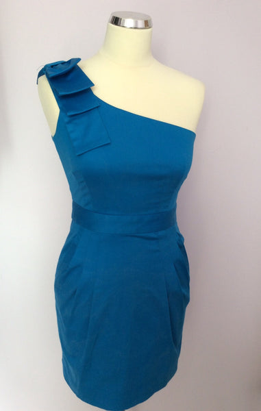 French Connection Turquoise Blue Bow Trim One Shoulder Dress Size 8 - Whispers Dress Agency - Womens Special Occasion - 1