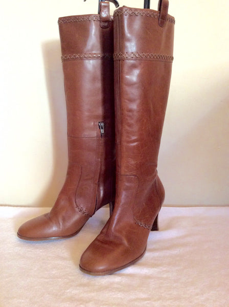 Clarks Tan Brown Leather Knee High Boots Size 6/39 - Whispers Dress Agency - Sold - 1