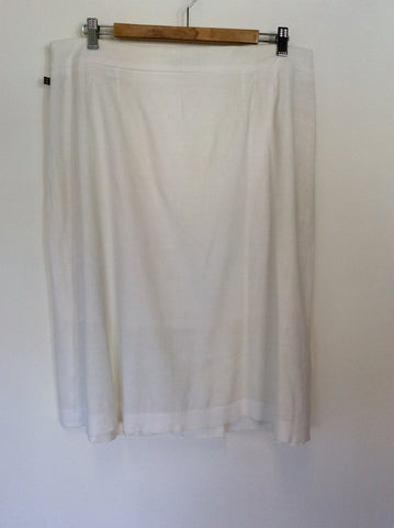 AQUASCUTUM WHITE LINEN BLEND PLEATED FRONT SKIRT SIZE 16 - Whispers Dress Agency - Womens Skirts - 2