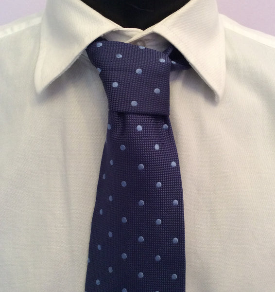 Jaeger Blue Spot Silk Tie - Whispers Dress Agency - Sold - 1