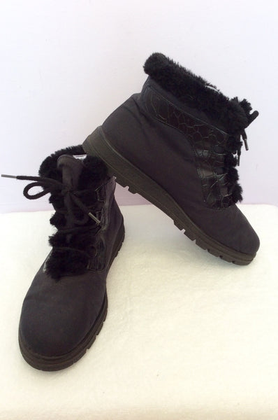 Rohde Black Lace Up Faux Fur Trim Ankle Boots Size 6/39 - Whispers Dress Agency - Womens Boots - 1