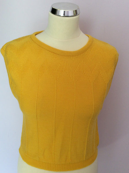 "Vintage Jaeger Yellow Sleeveless Jumper Size 34"" UK S/M - Whispers Dress Agency - Sold - 1"