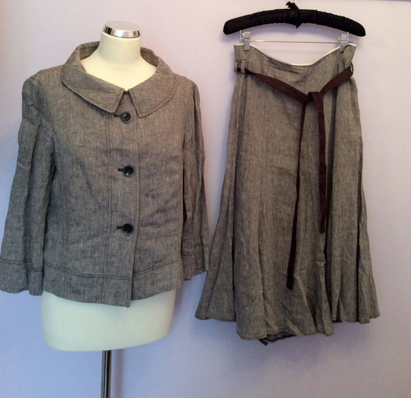 Betty Barclay Brown Linen Skirt Suit Size 14 - Whispers Dress Agency - Sold - 1