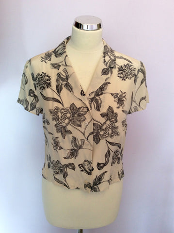 Alexon Cream & Black Floral Print Silk Blouse & Skirt Size 12 - Whispers Dress Agency - Womens Suits & Tailoring - 2