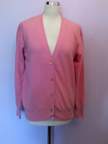 Vintage United Colours Of Benetton Pink Wool & Angora V Neck Cardigan Size M/L - Whispers Dress Agency - Womens Vintage - 1