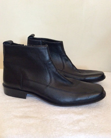Brand New Bond Street Black Leather Ankle Boots Size 10 / 44.5 - Whispers Dress Agency - Mens Boots - 2