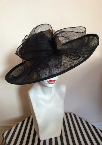 Natural Straw & Black Wide Brim Bow Trim Formal Hat - Whispers Dress Agency - Womens Formal Hats & Fascinators - 1
