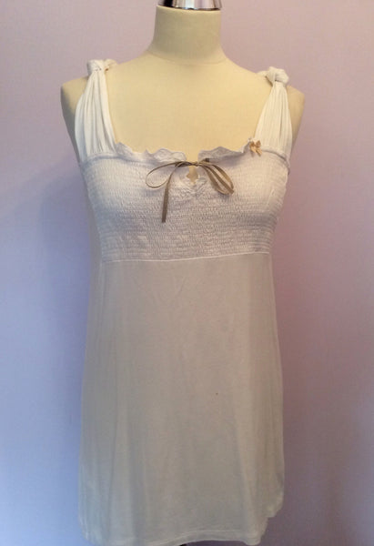Avoca Anthology White Sleeveless Ruched Top Size L - Whispers Dress Agency - Sold - 1