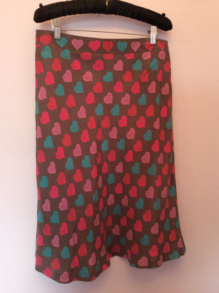 Cacharel Brown Heart Print Silk Skirt Size 42 UK 14 - Whispers Dress Agency - Womens Skirts - 1