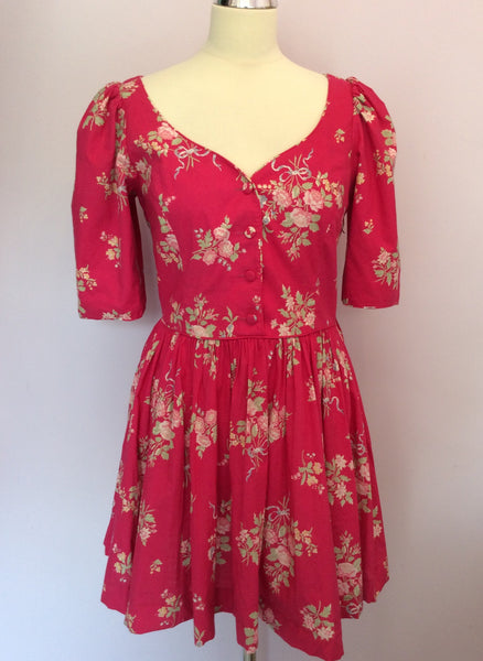 Vintage Laura Ashley Pink Cotton Floral Mini Dress Size 10 - Whispers Dress Agency - Womens Vintage - 1