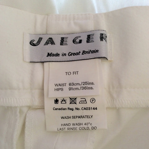 "Vintage Jaeger High Waist Cotton Trousers Size 25"" Approx UK 6 - Whispers Dress Agency - Womens Vintage - 3"