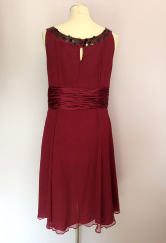 BRAND NEW MONSOON CRANBERRY & BLACK BEAD & SEQUIN TRIM SILK DRESS SIZE 14 - Whispers Dress Agency - Sold - 3