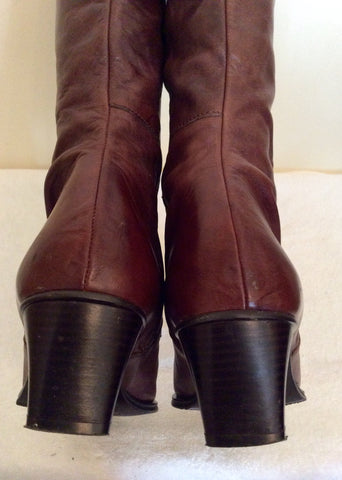 Marks & Spencer Dark Brown Leather Knee High Boots Size 8/42 - Whispers Dress Agency - Womens Boots - 4