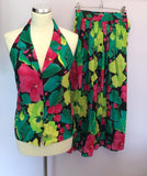 Vintage Jaeger Multi Coloured Cotton Print Top & Skirt Size 8 - Whispers Dress Agency - Womens Vintage - 1