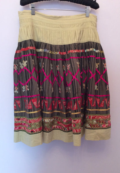 Whistles Beige & Multi Coloured Print Full Skirt Size 10 - Whispers Dress Agency - Womens Skirts - 1