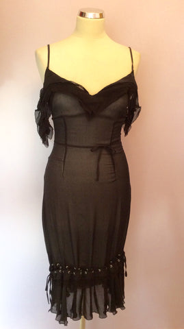 Brand New Joseph Black Silk Strappy Dress Size 40 UK 8 - Whispers Dress Agency - Womens Dresses - 3