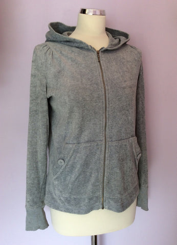 Juicy Couture Light Grey Velour Hooded Top Size XL - Whispers Dress Agency - Womens Activewear - 1