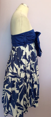 VINTAGE JAEGER BLUE & WHITE PRINT STRAPLESS COTTON DRESS SIZE UK 10/12 - Whispers Dress Agency - Womens Vintage - 2