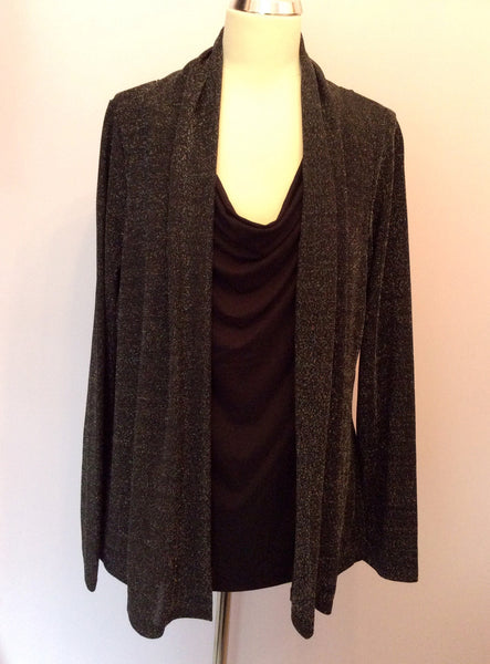 Alexon Black Top & Silver Sparkle Cardigan Size L - Whispers Dress Agency - Womens Tops - 1