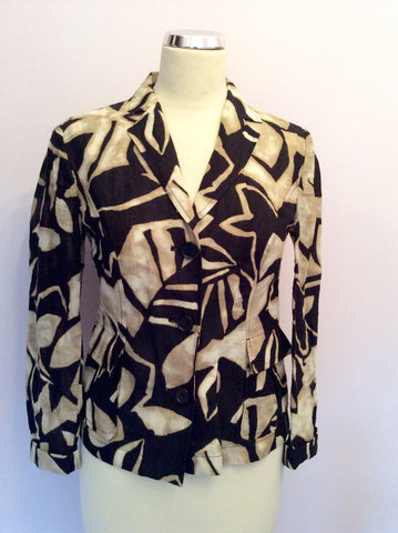 Betty Barclay Collection Black & Light Brown Print Cotton & Linen Jacket Size 8 - Whispers Dress Agency - Womens Coats & Jackets - 1