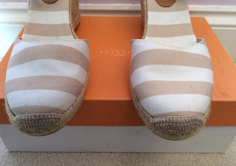 Brand New John Lewis Beige & White Stripe Wedge Heel Sandals Size 7.5/41 - Whispers Dress Agency - Womens Sandals - 2
