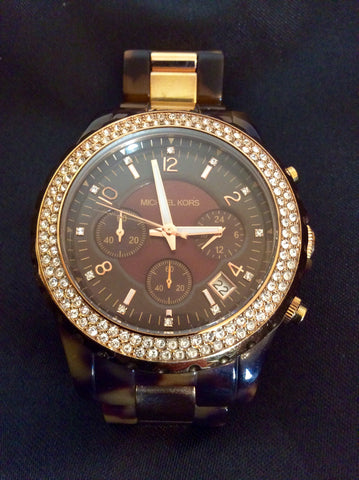 Michael Kors Rose Gold & Tortoise Shell Watch - Whispers Dress Agency - Womens Jewellery - 2