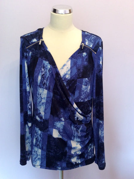 Michael Kors Blue & White Print Wrap Top Size L - Whispers Dress Agency - Sold - 1
