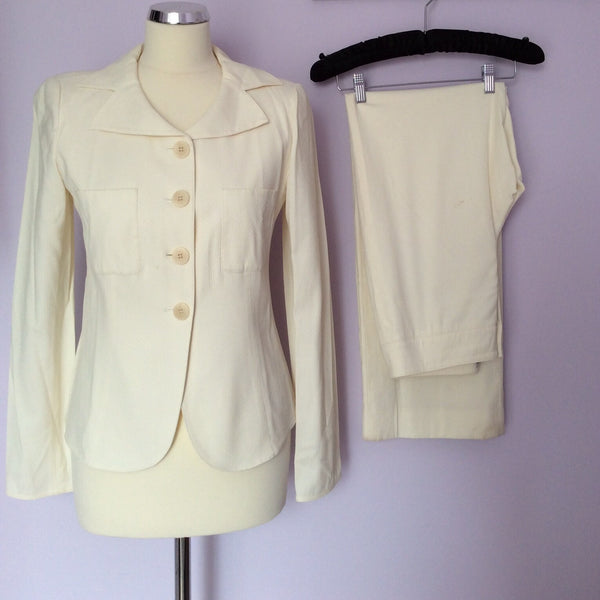Armani Collezione Cream Trouser Suit Size 42 UK 12 - Whispers Dress Agency - Sold - 1