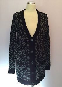 Zara Black & Grey Print Acrylic, Wool & Mohair Blend V Neck Cardigan Size S - Whispers Dress Agency - Sold - 1