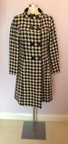 Marks & Spencer Autograph Black & White Dogtooth Coat Size 10 - Whispers Dress Agency - Sold - 1