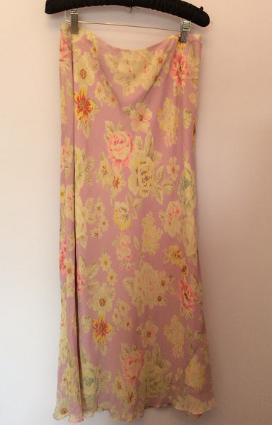 Boden Pink Floral Print Silk Long Skirt Size 16L - Whispers Dress Agency - Sold - 1