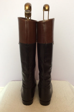 Bally Black & Brown All Leather Knee High Boots Size 3.5/36 - Whispers Dress Agency - Womens Boots - 2