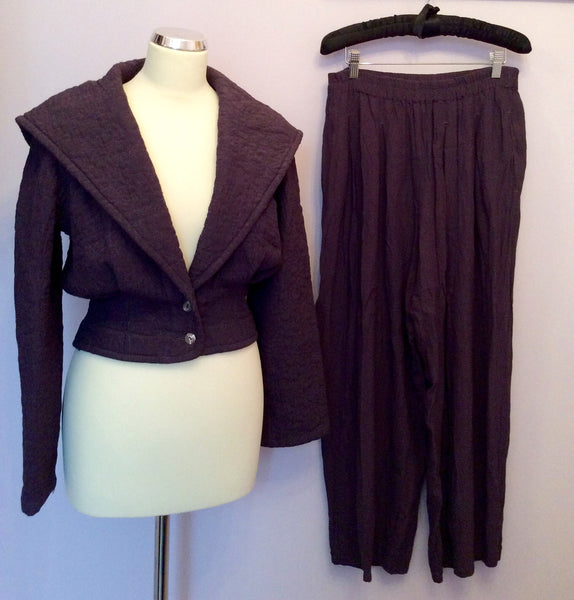GHOST PLUM QUILTED JACKET & LOOSE FIT TROUSERS SUIT SIZE S - Whispers Dress Agency - Womens Suits & Tailoring - 1