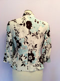 Country Casuals Ivory, Duck Egg & Brown Floral Print Silk & Cotton Jacket Size 10 Petite - Whispers Dress Agency - Womens Coats & Jackets - 4