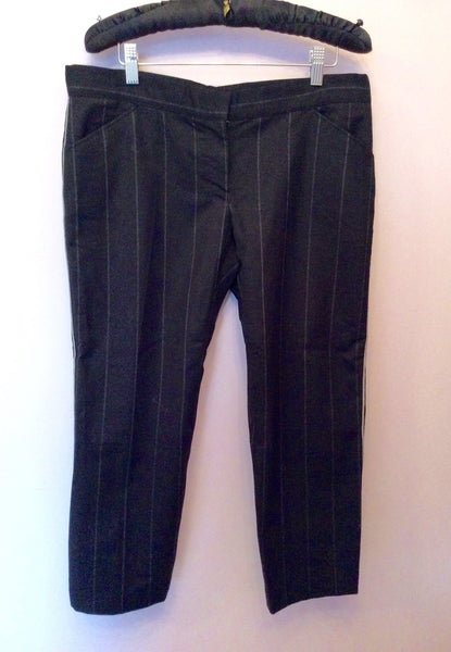 All Saints Black Pinstripe Wool Blend Crop Trousers M - Whispers Dress Agency - Sold - 1