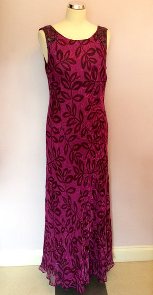 Country Casuals Dark Pink Silk Blend Long Dress Size 14 - Whispers Dress Agency - Sold - 1